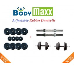 20 KG Body Maxx Adjustable Weight Lifting Rubber Dumbells Sets
